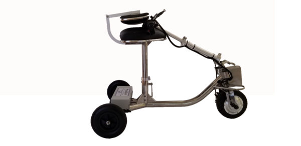 HandyScoot Lightweigt Travel Scooter steering column folded on seat